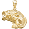 14kt Yellow Gold 3/4in 2-D Bass Fish Pendant